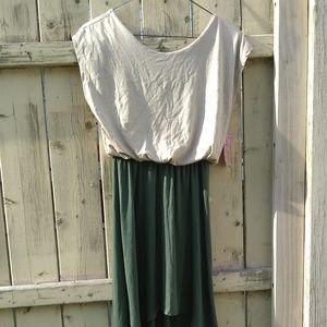 Derek Heart Green and Tan Summer Dress